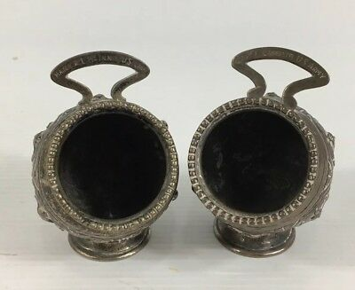 Antique Solid Silver Pair Of Indian Salt Cellars Military Interest 7cm In Height