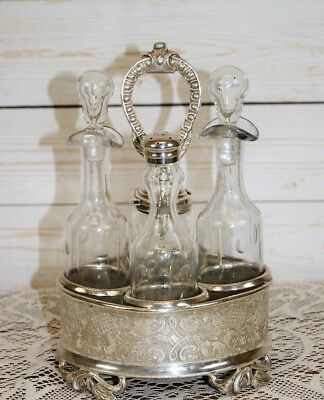 Antique Chased Silver Plated & Cut Glass Cruet 4 Piece Silver Service Condiment