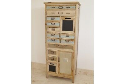 Tall Rustic Wooden Cabinet Multi Storage Drawers