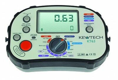 Kewtech KT63 Digital 5-in-1 Multifunction Tester with FREE KEWTECH LIGHTMATE KIT