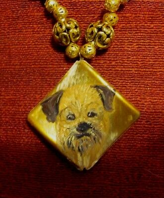 Border Terrier hand pianted on square composite pendant/bead/necklace