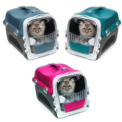 Catit Cabrio Cat / Dog Carrier Transporter - Cherry Red / Blue Grey / Turquoise