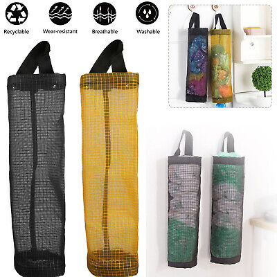 Grocery Plastic Garbage Bag Holder Dispenser Hanging Mesh Trash Bag Organizer