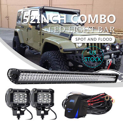 "52""inch+4"" 18W LED Light Bar+Wires+Mounting Bracket Kit Fit For Jeep Wrangler JK"