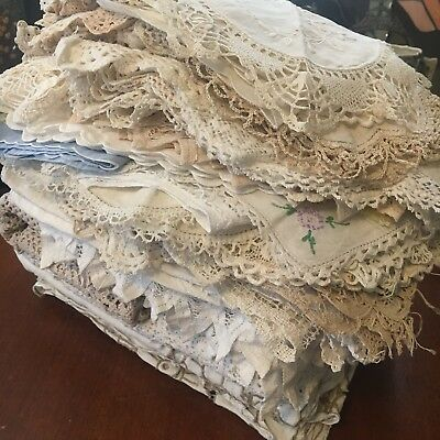 Bulk Lot Of 55+ Damaged Vintage Table Clothes Doilies Runners Textiles Crafts