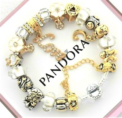 Pandora Bracelet Silver with Gold White LOVE STORY European Beads Charms New