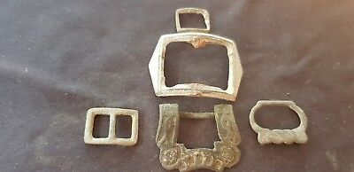 Super lot of five copper alloy post medieval buckles all found in England L34y