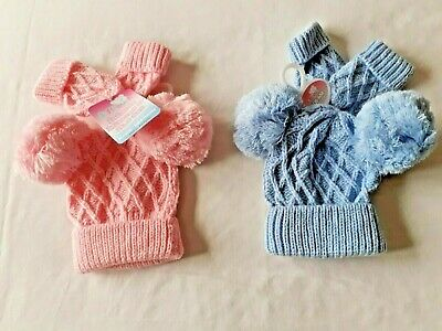 Baby Babies Boys Girls Cable Knit Knitted 2 Pom Pom Gloves Bobble Hat Mitten Set
