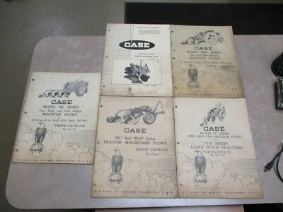 Lot of 5 Vintage CASE  BE, BL, BLH, BER, E, MA, MTA Mounted Plows Parts Catalogs