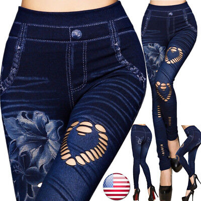 US Women Leggings Skinny High Waist Jeans Trousers Denim Stretchy Pencil Pants