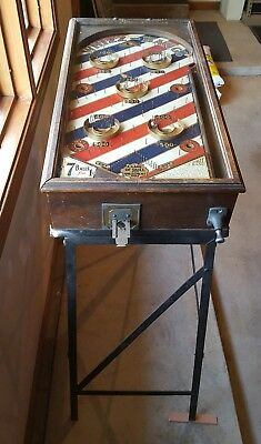 Antique 1932 Gottlieb WHIZZ-BANG Pinball Machine 1 Penny Table Top on Iron Stand