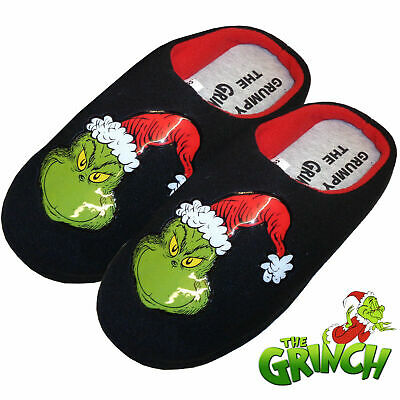 Mens Novelty Grinch Slippers Slip-On Warm Comfy Indoor Mules Xmas Gift Uk 7-12