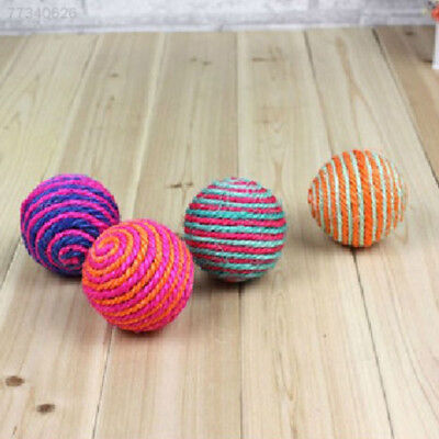 1x Funny Cat Sisal Rope Weave Ball Teaser Play Chewing Rattle Scratch Catch Toy