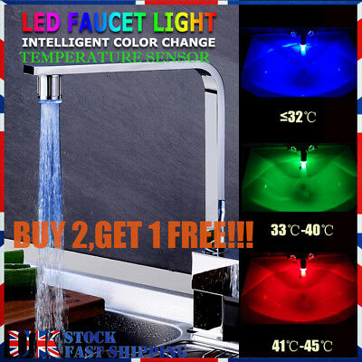 3 Colour Temperature Sensor Led Tap Light Glow Faucet Bathroom Kitchen Tap Lamp