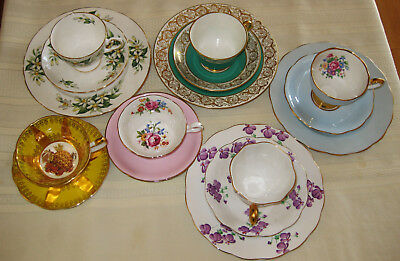 Lot of 6 VTG. Tea Cups & Saucers & Plates Fine Bone China ~ England ~ Collectors