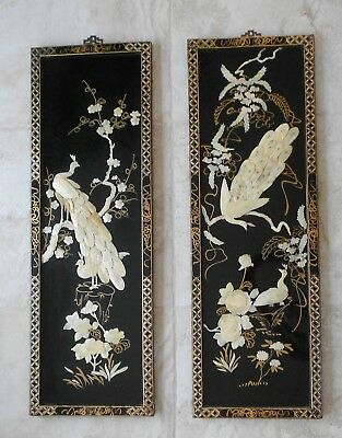 ******pair Vintage Asian Plaques Peacocks Mother Of Pearl Black Lacquer*****