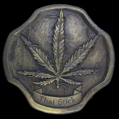 Vtg Thai Stick Pot Leaf Weed Ganja Cannabis Marijuana Hippie Belt Buckle
