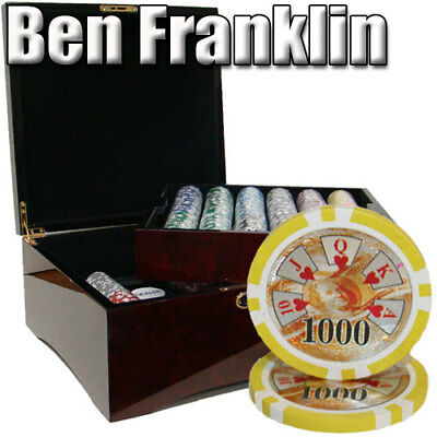 Ben Franklin 14 Gram 750 Count Poker Chips in Mahogany Glossy Wood Case