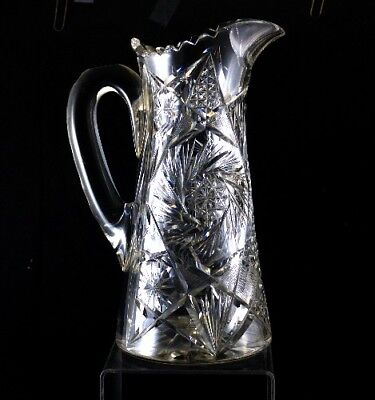 Pitcher Water American Brilliant Cut Glass Antique Very Fine Quality