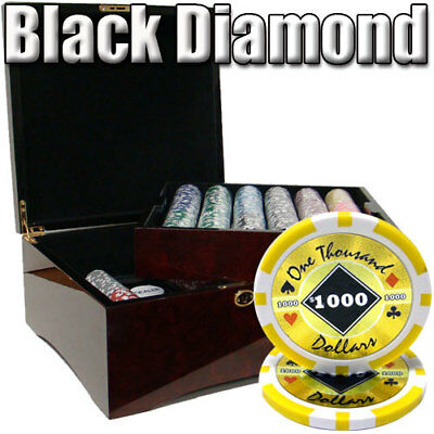 Black Diamond 14 Gram 750 Count Poker Chips in Glossy Mahogany Dark Wood Case