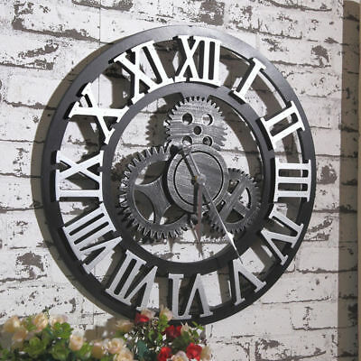 "Large Wall Clock Antique 3D Gear Retro Roman Numerals Silent Sweep 12"" 16 inch"