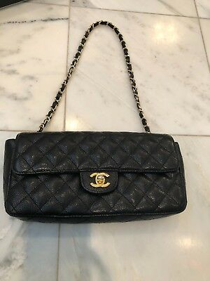 cfbad7e764d1 Authentic Chanel black Caviar Quilted East West Flap Handbag With gold  hardware