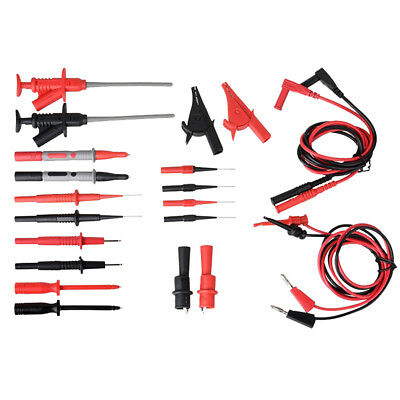 22PCS Test Clips Leads Kit Fluke Multimeter Heavy Duty Banana Tester Probe Set