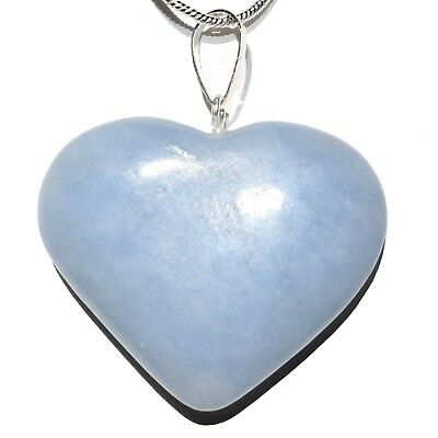 "CHARGED Angelite Crystal HEART Perfect Pendant™ Hand-Carved + 20"" Chain"