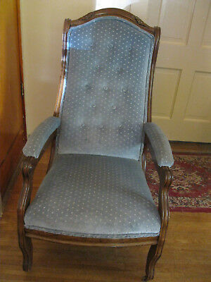 Victorian Blue Ladies Chair on Wheels