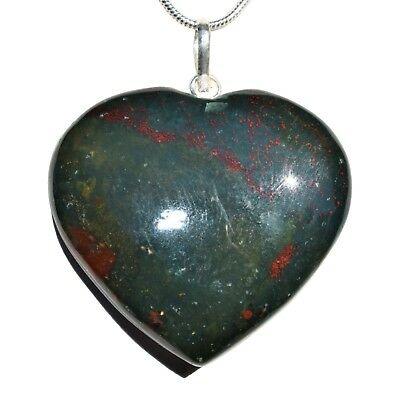 """CHARGED Bloodstone Crystal HEART Perfect Pendant™ Hand-Carved + 20"""" Chain"""