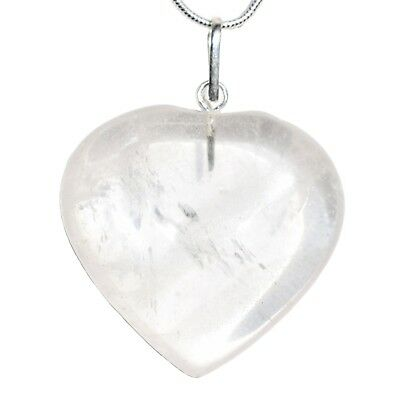 """CHARGED Amplifier Clear Quartz Crystal Heart Perfect Pendant™ + 20"""" Chain"""