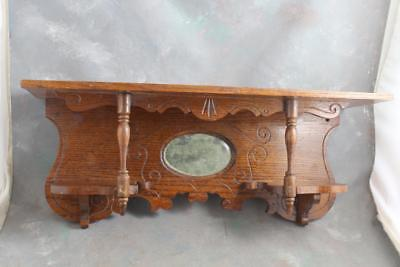 Antique Oak Eastlake Clock Shelf with Oval Bevelled Mirror 24""