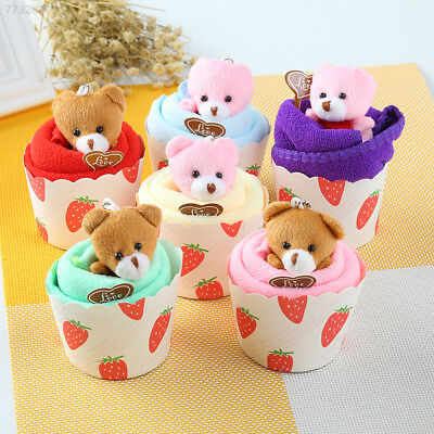8523 Bear Cup Cake Towel Cotton Face Party Gifts Superfine Fibre Home Random Col