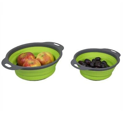 Home Basics 2 Piece Nesting Collapsible Silicone  Colander, Green - DC47847