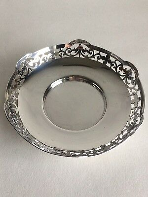 Solid Sterling Silver Mappin & Web Filigree Rimmed Comport/tazza 128g