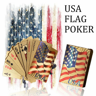 WR New USA Flag 24K Gold Foil Poker 54 Playing Cards Deck Table Game Party Gitfs