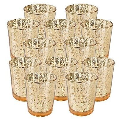"""Just Artifacts Mercury Glass Votive Candle Holder 2.75""""H (12pcs, Speckled Gold)"""