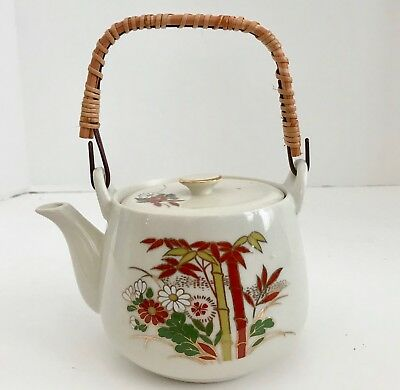 Vintage Japanese Edsin Bamboo Flowers Ceramic Teapot with Wicker Handle