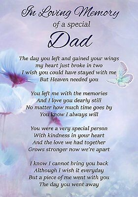 In Loving Memory Special Dad Memorial Graveside Poem Card Ground