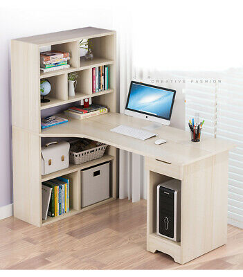 L-Shaped Computer Desk Bookcase PC Gaming Table Home Office Study Workstation UK