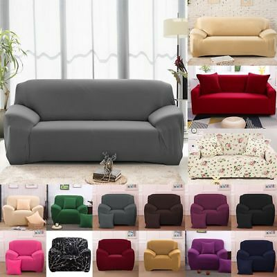 1-4 Seater Stretch Chair Sofa Covers Couch Cover Anti-slipSlipcover Protector UK