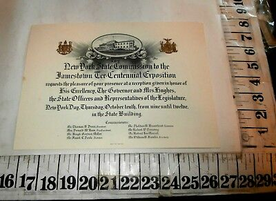 1907 New York Commission To Jamestown Ter-Centennial Exposition Invitation