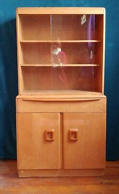 Vtg 50's Heywood Wakefield 2-piece China Hutch Solid Maple w/Sliding Glass Doors
