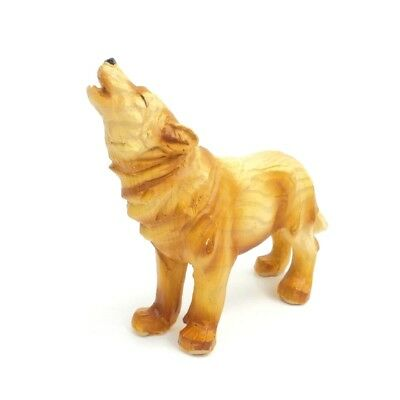 Small Howling Wolf Figurine Faux Carved Wood Collectible Dog Statue