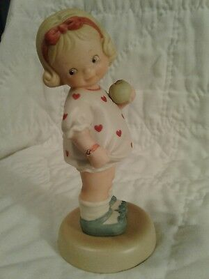"""Memories Of Yesterday """"will You Be Mine"""" Enesco 1992 Girl Hearts Green Apple"""
