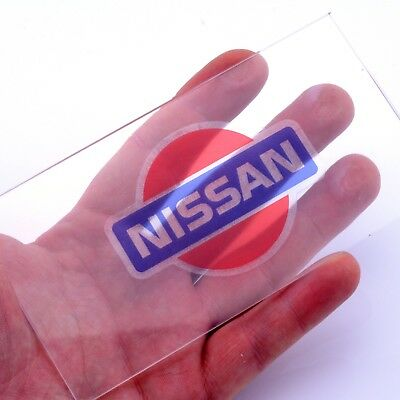 Nissan Badge CLEAR Sticker Car Vinyl Decals x2 50mm Window Panel Laptop