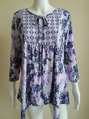ae38d1f6e52 KATHERINE NEW YORK Women's Blouse, Size L Green Lilac Purple Floral ...