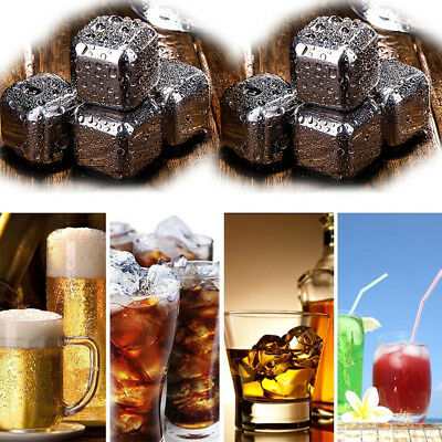 8 Stainless Steel Whiskey Stones Ice Cubes, Scotch, Brandy Drinks Chillers UK
