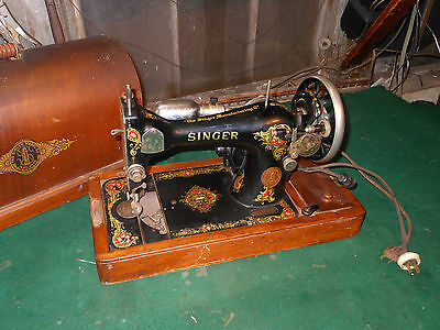 Vintage Singer Sewing Machine Bentwood Case Very Ornate with Flowers For Repair