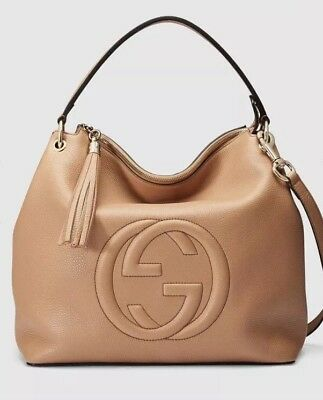 dac5e8f869e Authentic New GUCCI 536194 Camelia Beige GG Soho Handbag Hobo Bag Large  2900